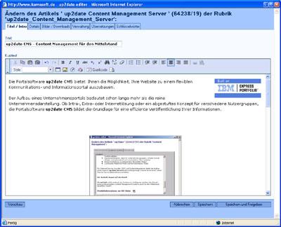 up2date CMS 1.8 Editor