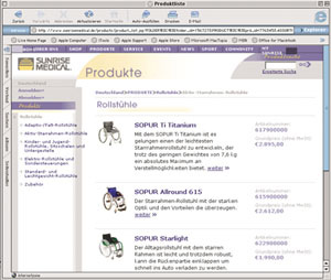 Produktauswahl mit anschließender Darstellung der Ersatzteile